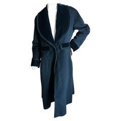 Chanel Haute Couture Vintage Black Velvet Trim Cashmere Coat