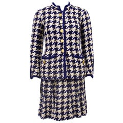 Chanel Haute Couture Woven Wool Classic Skirt Suit 1970's