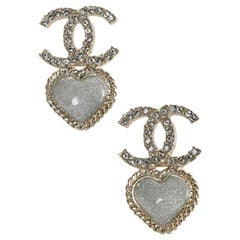 CHANEL Heart Pendant Stud Earrings