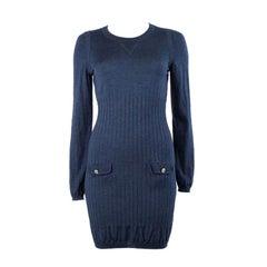 CHANEL heather blue wool & silk KNIT Long Sleeve Dress XS