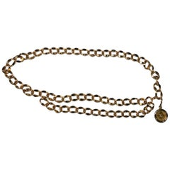 Chanel Heavy Gold Double Swag Chain Belt from 1980s