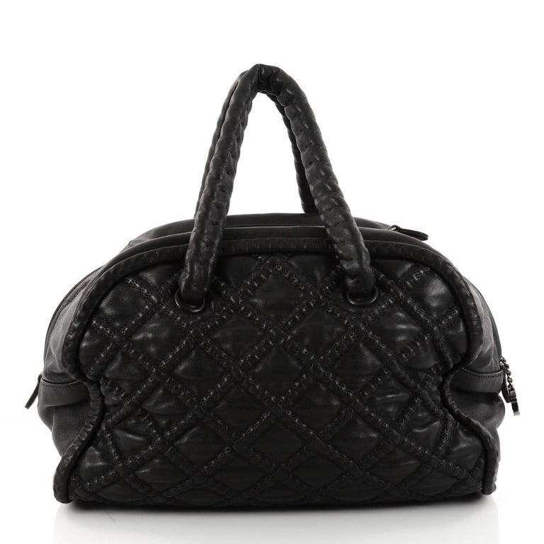 7d0d39430b Chanel Quilted Lambskin Large Hidden Chain Bowler Bag In Good Condition For  Sale In New York