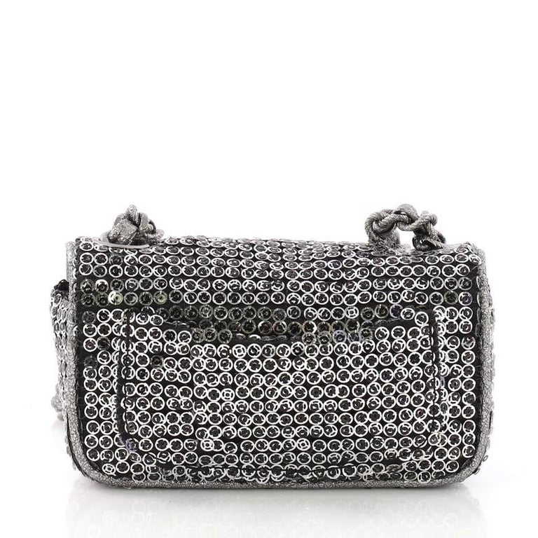 4ad176ea381f Chanel Hidden Sequins Flap Bag Quilted Sequins Extra Mini In Good Condition  For Sale In New