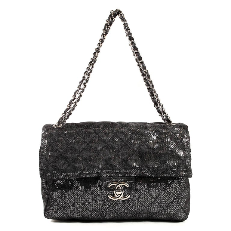 Chanel Hidden Sequins Jumbo Classic Flap Bag For Sale 7