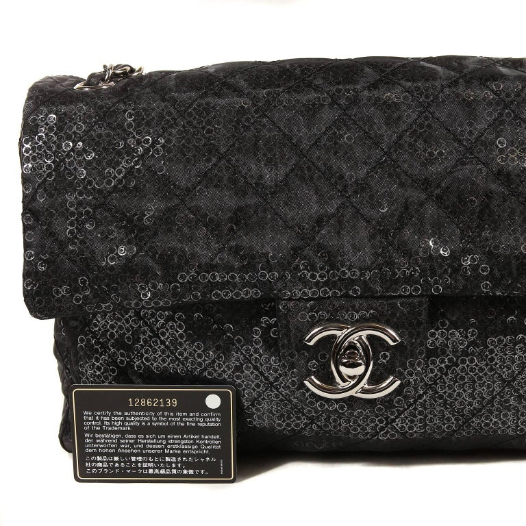 Chanel Hidden Sequins Jumbo Classic Flap Bag For Sale 8