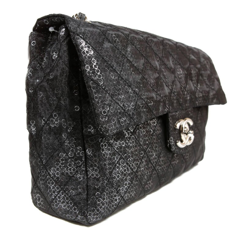 Black Chanel Hidden Sequins Jumbo Classic Flap Bag For Sale