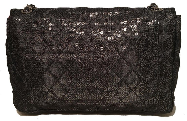 6468a01fc26a Black Chanel Hidden Sequins Mesh Jumbo Classic Flap Shoulder Bag For Sale
