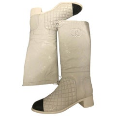 CHANEL High Boots - White - New Condition Size 40