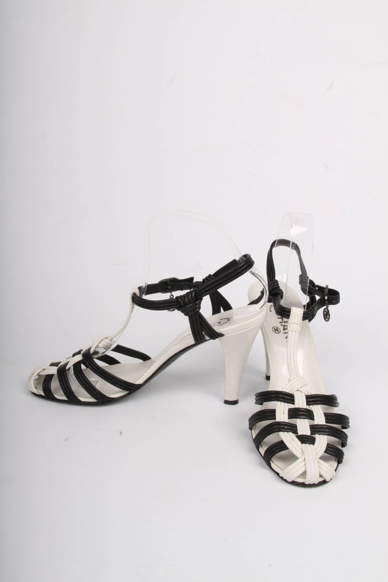 Gray Chanel High Heeled Sandals - black & white For Sale