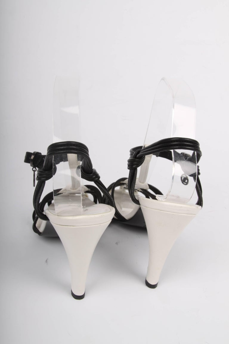 Chanel High Heeled Sandals - black & white For Sale 1
