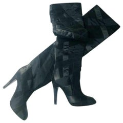 Chanel High Patchwork Boots - Black Suede Leather Size 36