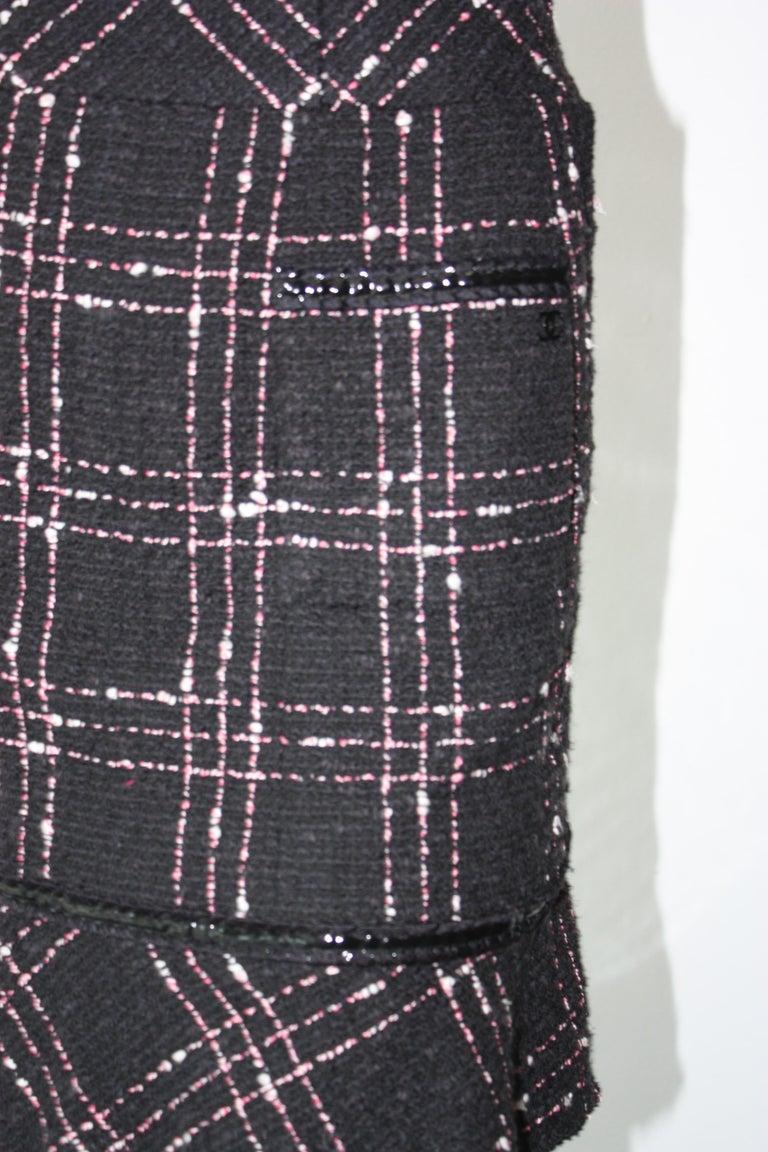 Wool Plaid Skirt Black/&White