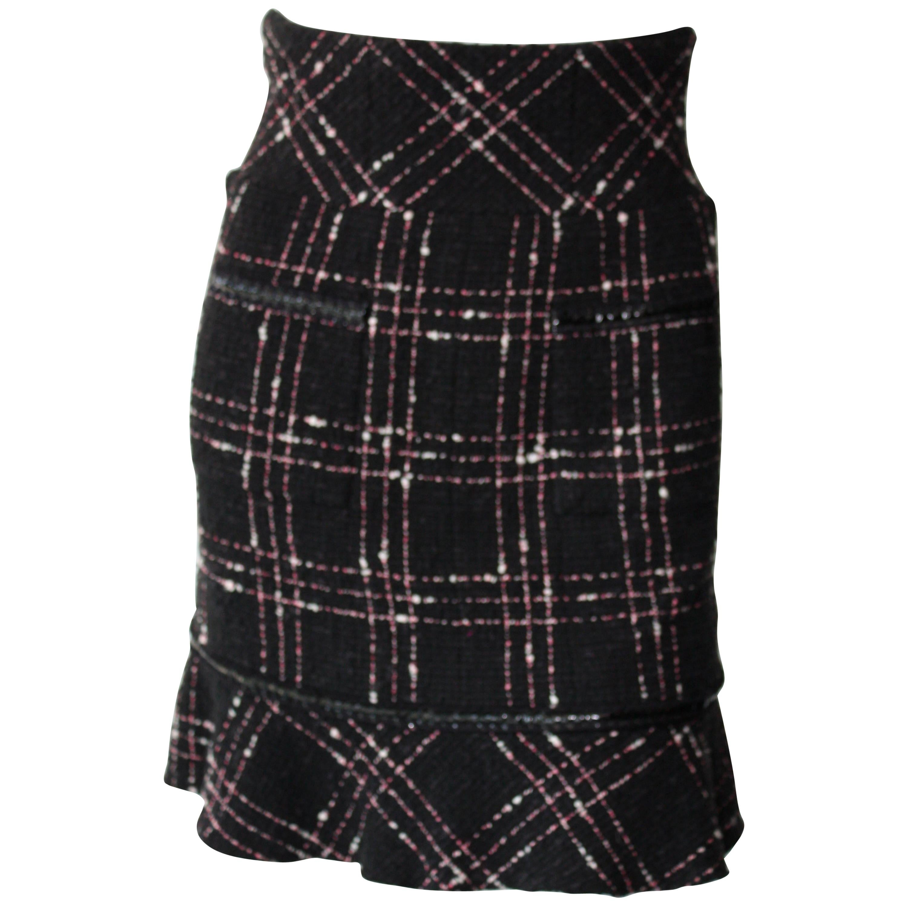 Chanel High Waisted Black, White and Pink  Plaid Skirt