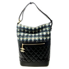 CHANEL Hobo bag green multicolor and lambskin leather black , 2018