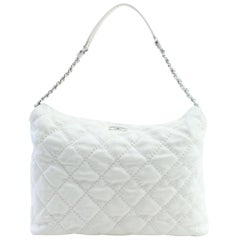Chanel Hobo French Riviera 13cr0228 Ivory Quilted Leather Shoulder Bag