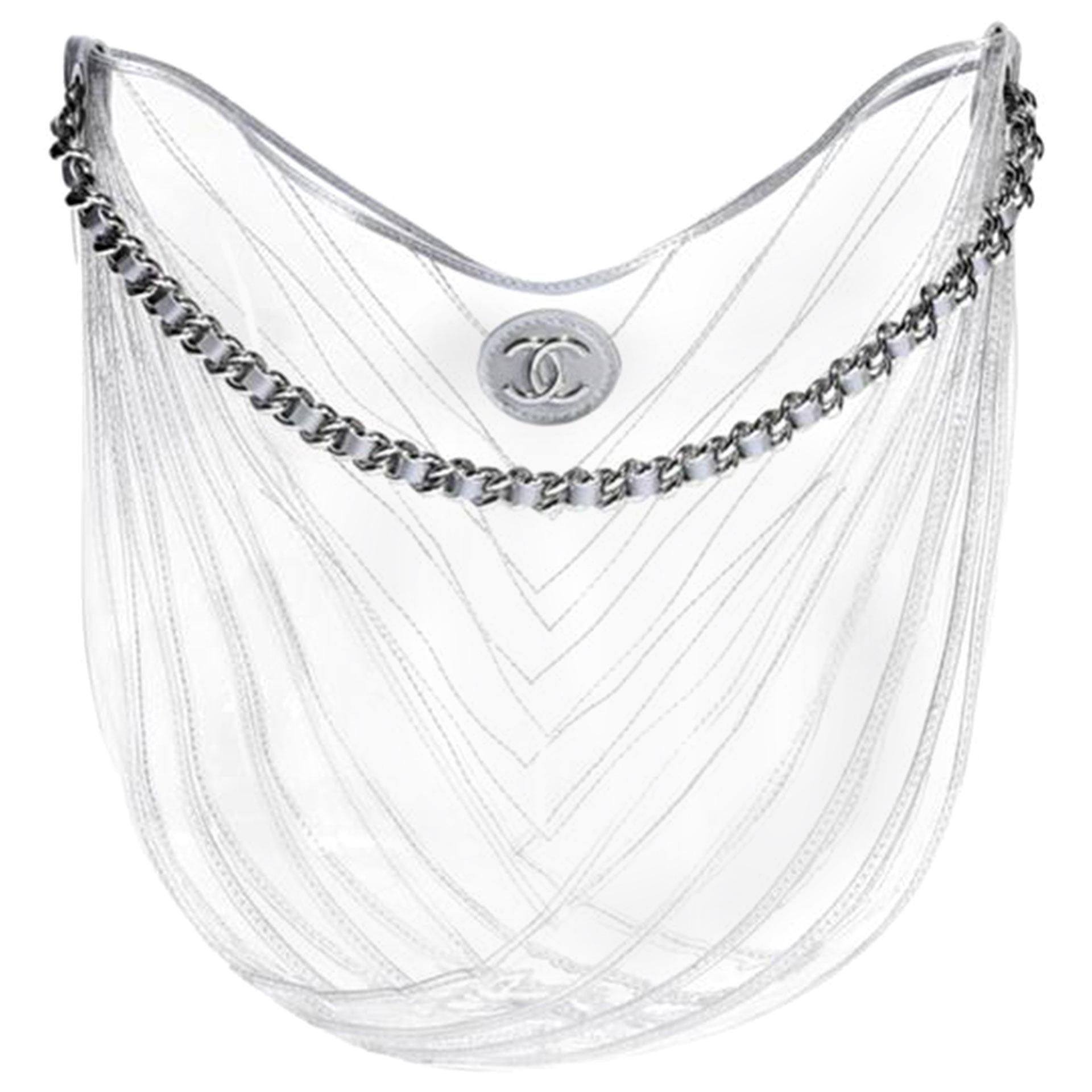 Chanel Hobo Handbag Transparent Teardrop Spring 2018 Clear Pvc Satchel