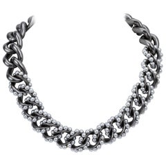 Chanel Hollow Gray Pearl Chain Choker Necklace