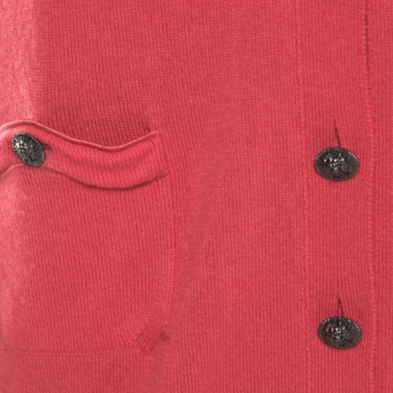 Women's Chanel Hot Coral Cashmere Button Front Cardigan M For Sale