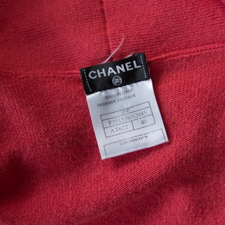 Chanel Hot Coral Cashmere Button Front Cardigan M For Sale 1