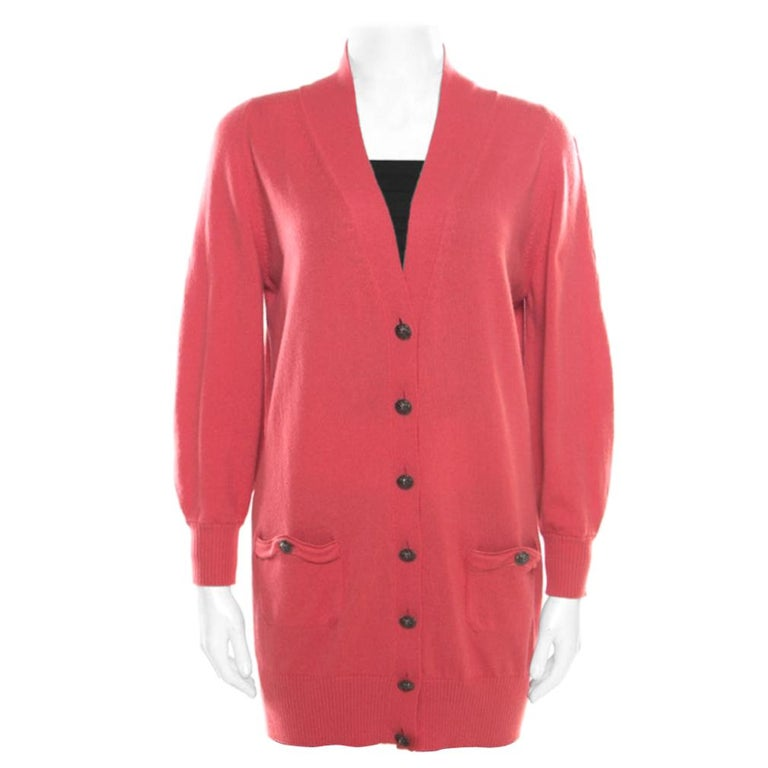Chanel Hot Coral Cashmere Button Front Cardigan M For Sale