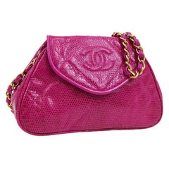 Chanel Hot Pink Lizard Exotic Gold Party Evening Small Mini Shoulder Flap Bag