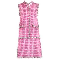 Chanel Hot Pink Tweed Sleeveless Mini Dress w/Metallic Silver Trim