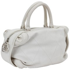Chanel Ice White Leather Bowler Bag