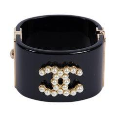 Chanel Iconic Black & Pearl CC Logo Cuff Bracelet