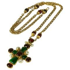 Chanel Iconic Byzantine Pendant Cross Necklace