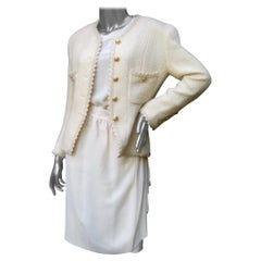 Chanel Iconic Cream Wool & Silk Jacket Blouse Skirt Ensemble c 1980s