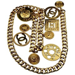 CHANEL Iconic Logo Medallion Charm Necklace Belt