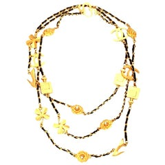 Chanel Iconic Motif Charm and Leather Long Necklace