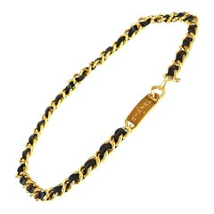 Chanel Iconic Vintage Golden Chain And Leather Belt