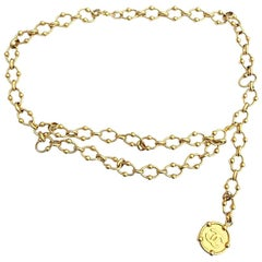 Chanel Iconic Vintage Golden Chain Belt with CC symbol