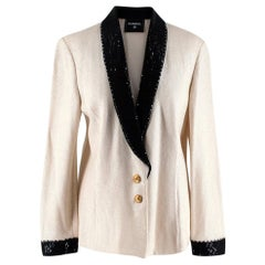 Chanel Iconic Vintage Ivory & Black Embellished Knit Jacket - Size Medium