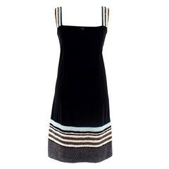 Chanel Identification Black Beach Dress W/ Towel Trim & Straps L 38