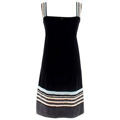 Chanel Identification Black Beach Dress W/ Towel Trim & Straps - Size US 6