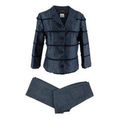 Chanel Identification Blue Denim Fringe Detail Trouser Suit - Size US 8