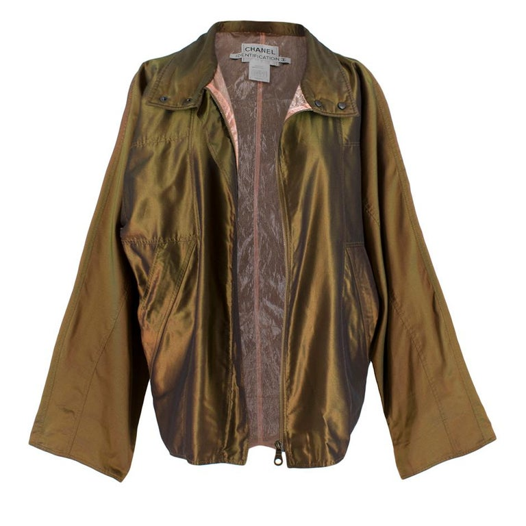 Brown Chanel Identification Oversize Iridescent Silk Jacket - Size US 6 For Sale
