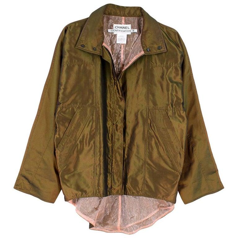 Chanel Identification Oversize Iridescent Silk Jacket - Size US 6 For Sale