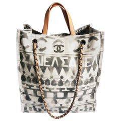 Chanel Iliad Large Tote Bag Canvas Leather 2018 Cruise Collection Greece Modern
