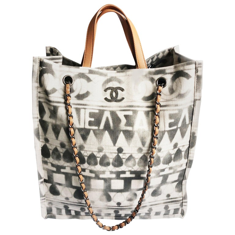 Chanel Iliad Large Tote Bag Canvas Leather 2018 Cruise Collection Greece Modern  For Sale