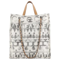 Chanel Iliad Shopping Tote Printed Canvas Tall