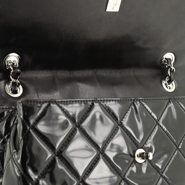 Chanel In The Business Flap Bag Quilted Patent Vinyl Maxi 6
