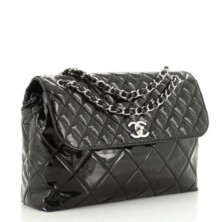 Chanel In The Business Flap Bag Quilted Patent Vinyl Maxi In Fair Condition In New York, NY