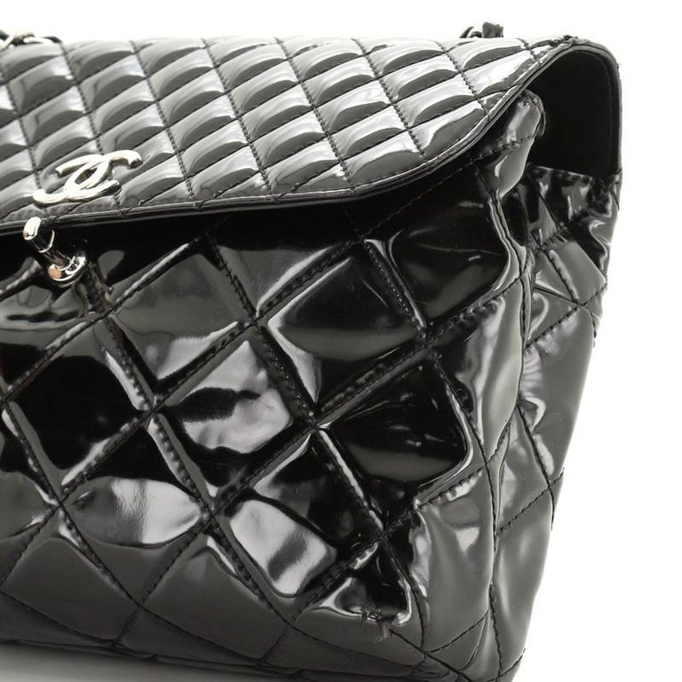 Chanel In The Business Flap Bag Quilted Patent Vinyl Maxi 4