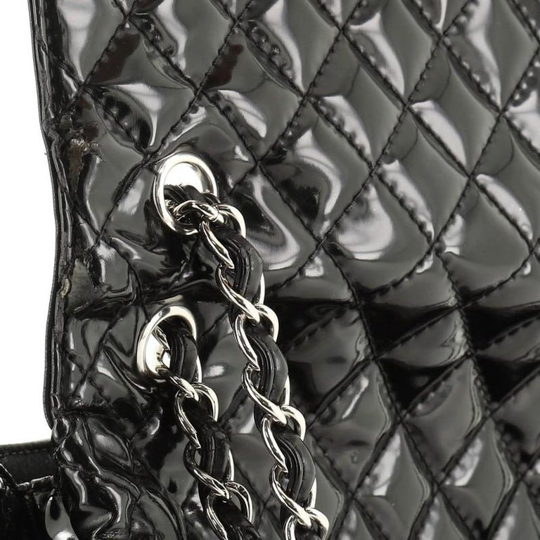 Chanel In The Business Flap Bag Quilted Patent Vinyl Maxi 5