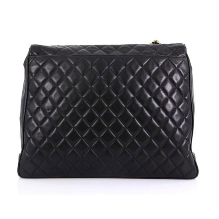 Chanel In The Classic Flap Vintage Large Business Shoulder Briefcase Black Bag In Good Condition For Sale In Miami, FL
