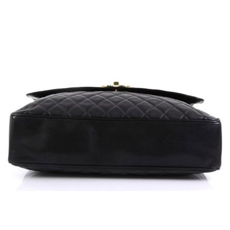 Women's or Men's Chanel In The Classic Flap Vintage Large Business Shoulder Briefcase Black Bag For Sale