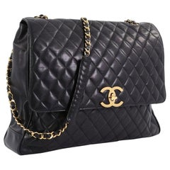 Chanel In The Classic Flap Vintage Large Business Shoulder Briefcase Black Bag